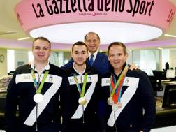 Marco Innocenti , Gabriele Rossetti, Giovanni Pellielo in Gazzetta col presidente Luciano Rossi. Bozzani