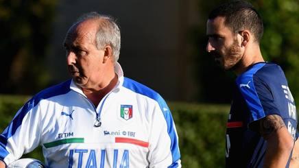 Dasinistra, Gian Piero Ventura, 69 anni, c.t. dell'Italia, e Leonardo Bonucci, 29, difensore della Juventus. Getty Images