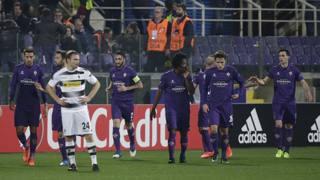 L'esultanza di Borja Valero dopo il raddoppio. Reuters