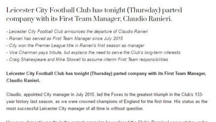 Il comunicato con il quale il Leicester annuncia l'esonero di Claudio Ranieri