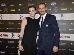 Martina Maccari con Leonardo Bonucci. Ansa