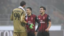 Il Milan festeggia la vittoria sulla Fiorentina. Getty