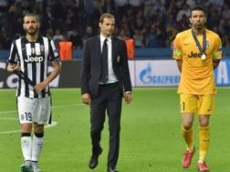 Leonardo Bonucci, Massimiliano Allegri e Gigi Buffon. Ansa