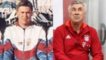 A sinistra, carlo Ancelotti nel 195, alla guida della Reggiana. A destra, lo stesso Ancelotti al Bayern Monaco
