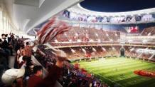 Un rendering del progetto dello stadio a Tor di Valle, dove dovrebbe sorgere il nuovo impianto della Roma. Ansa