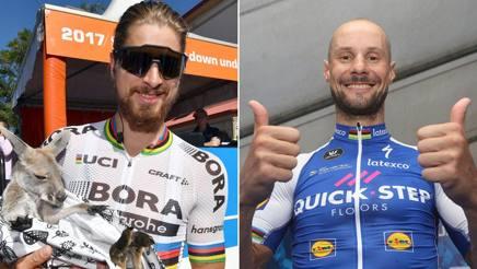 Due giganti: il due volte iridato Peter Sagan, slovacco di 27 anni, e il fiammingo Tom Boonen, 36 anni, 1 Mondiale, 3 Fiandre e 4 Roubaix. Foto Bettini
