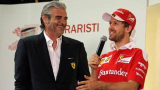 Maurizio Arrivabene e Sebastian Vettel ANSA