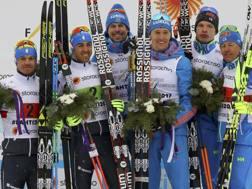 Il podio di Lahti: a sinistra Dietmar Noeckler e Federico Pellegrino. Reuters