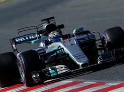 Valtteri Bottas in azione sulla Mercedes. Reuters
