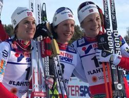 Il podio tutto norvegese di Lahti: Bjoergen fra Jacobsen e Weng