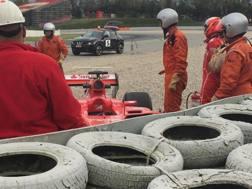 La Ferrari di Raikkonen a Montmeló dopo l'uscita di pista