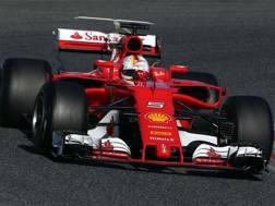 Vettel sulla Ferrari SF70H. LaPresse