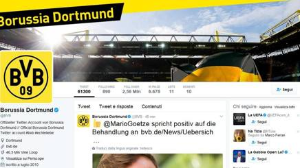 Il profilo twitter del Borussia Dortmund