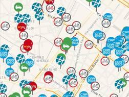 Una schermata dell'app Urbi che aggrega i servizi di car e bike sharing