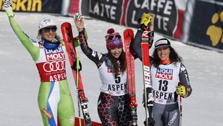 Ilka Stuhec (2ª), Tina Weirather e Federica Brignone (3ª) sul podio dell'ultimo superG di stagione. Ap