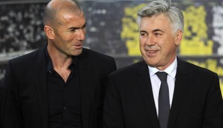 Zidane e Ancelotti. Afp