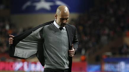 Pep Guardiola, tecnico del City eliminato agli ottavi di Champions dal Monaco. Reuters
