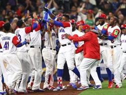 La gioia della Rep. Dominicana dopo aver battuto il Venezuela
