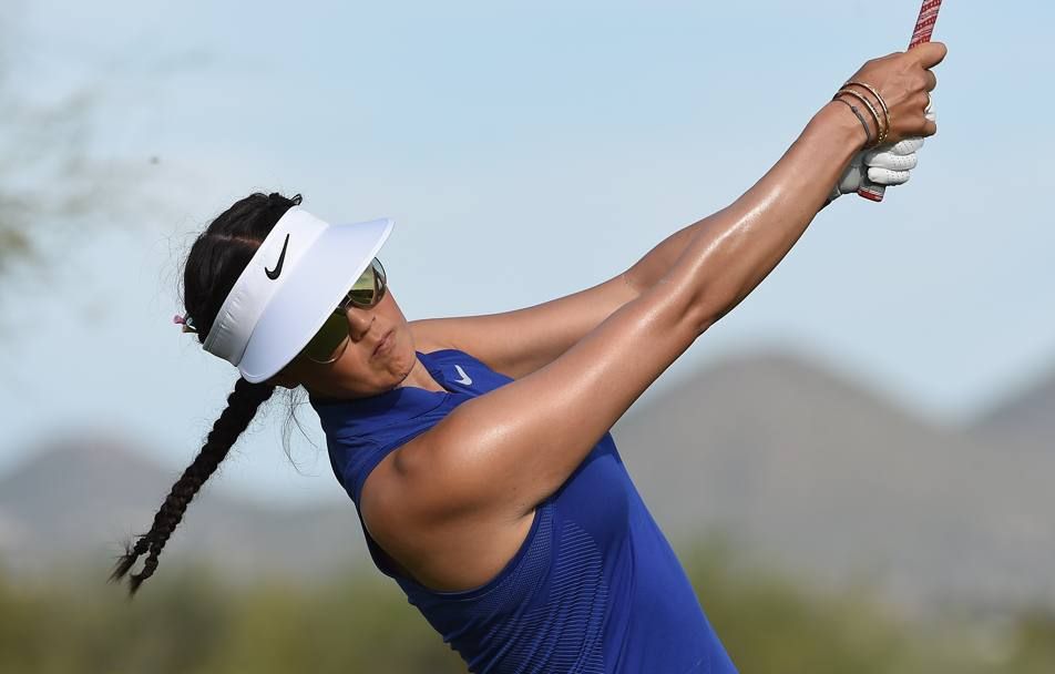 Michelle Wie impegnata nella Bank Of Hope Founders Cup di golf a Phoenix, Arizona. (Afp)