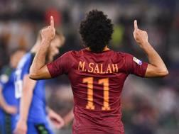 Salah esulta dopo il gol. Getty