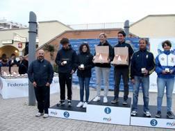 Il podio dei Nacra ai tricolori di Ostia