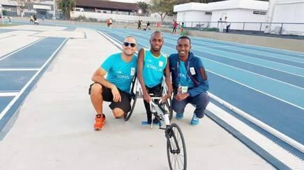 Farhan Hadafo a Rio con il suo allenatore