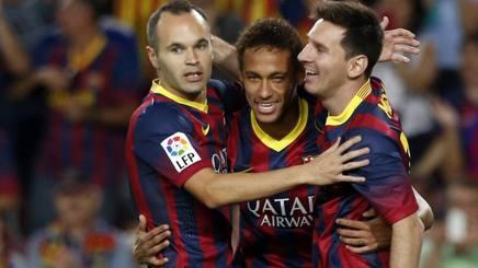 Iniesta, Neymar e Messi. Reuters