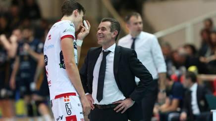 Angelo Lorenzetti e SImone Giannelli: allenatore e palleggiatore di Trento