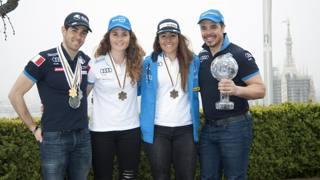 Le 4 punte azzurre sullo sfondo della Madonnina: Federico Pellegrino (fondo); Michela Moioli (snowboard), Sofia Goggia e Peter Fill (sci). IPP