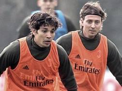 Montolivo e Mati durante l'allenamento (acmilan.com)