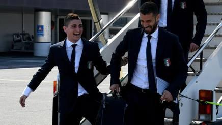 Marco Verratti, qui con Antonio Candreva in Nazionale. Getty