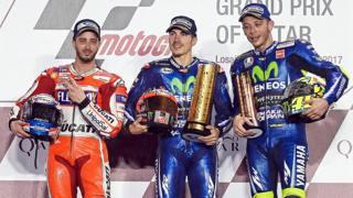 Da sinistra Dovizioso, Vinales e Rossi. Epa