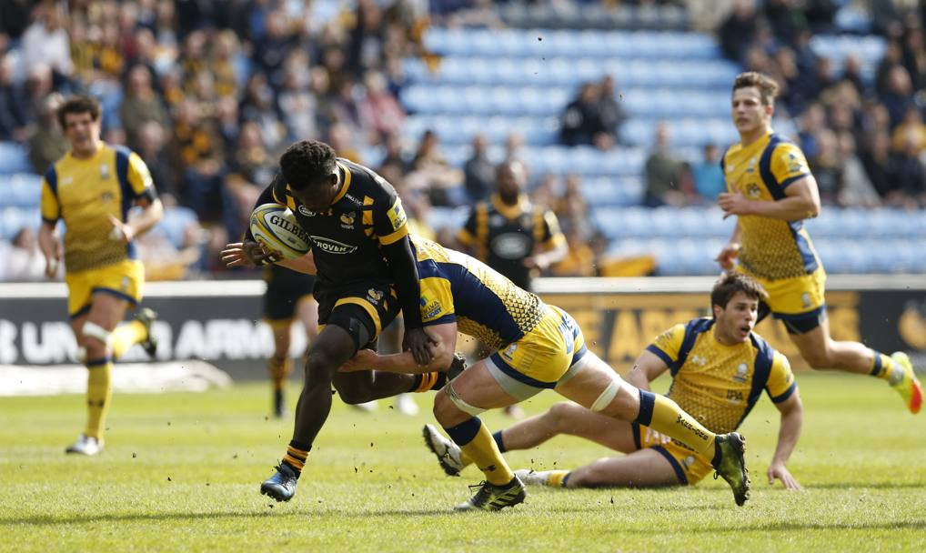 Gran Bretagna, Wasps contro Worcester Warriors. Christian Wade verso la meta (Action Images)