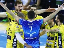 L'esultanza dei giocatori di Modena: hanno pareggiato la serie con Civitanova