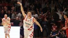 Michele Antonutti, 31 anni, festeggia nell'incontro vinto contro Milano CIAM/CAST