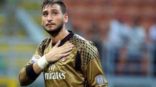 Il portiere del Milan Gianluigi Donnarumma, 18 anni. Ansa
