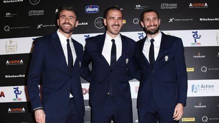 La BBC della Juve: Barzagli, Bonucci e Chiellini. Lapresse