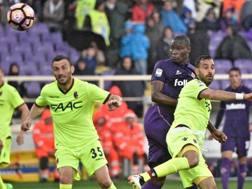 Il colpo di testa di Babacar che ha deciso la partita col Bologna. Ansa