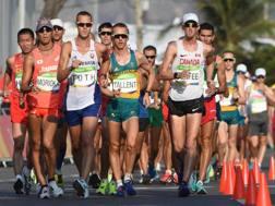 Uno scatto della 50 km di Rio 2016: Matej Toth (4° da sin.) vincerà l'oro. Epa