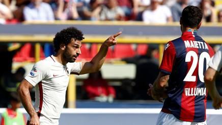 Mohamed Salah, 24 anni, seconda stagione alla Roma, esulta per il gol del 2-0 a Bologna. Reuters