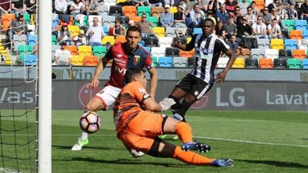 La terza rete dell'Udinese contro il Genoa. Ansa