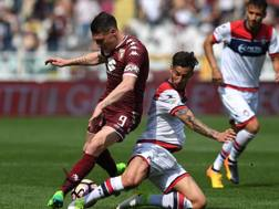 Andrea Belotti combatte con Federico Ceccherini. Gatty