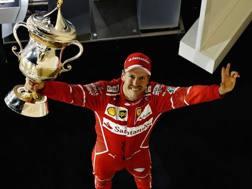 La gioia di vettel per la vittoria in Bahrain. Getty