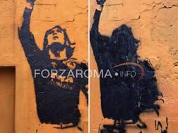 Il murales di Totti nel quartiere Monti: prima e dopo il raid dei vandali