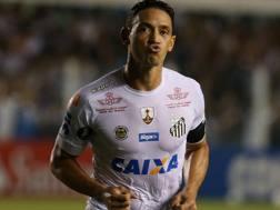 Ricardo Oliveira esulta dopo un gol realizzato con la maglia del Santos. Reuters