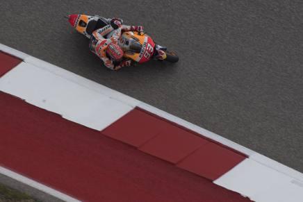Marquez in piega sulla pista di Austin. Getty