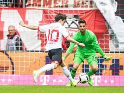 Il gol  di Bojan contro il Bayern. Epa