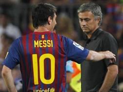 Da sinistra, Lionel Andrés Messi Cuccittini, 29 anni, e José Mário dos Santos Mourinho Félix, 54. Ap
