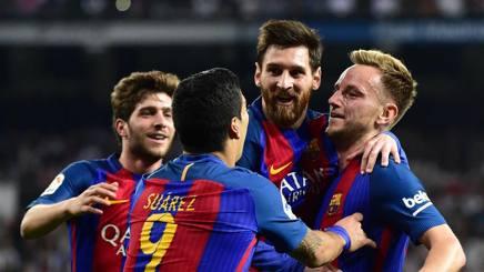 Messi festeggiato al Bernabeu. Afp