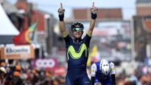 Alejandro Valverde, 37 anni martedì 25, sul traguardo della Liegi-Bastogne-Liegi (Bettini)